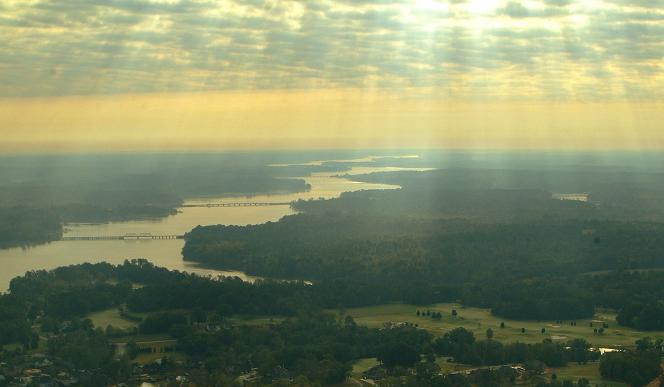 Sunrise over Lake Greenwood from the Fuji Photo Film blimp © Ben Keys